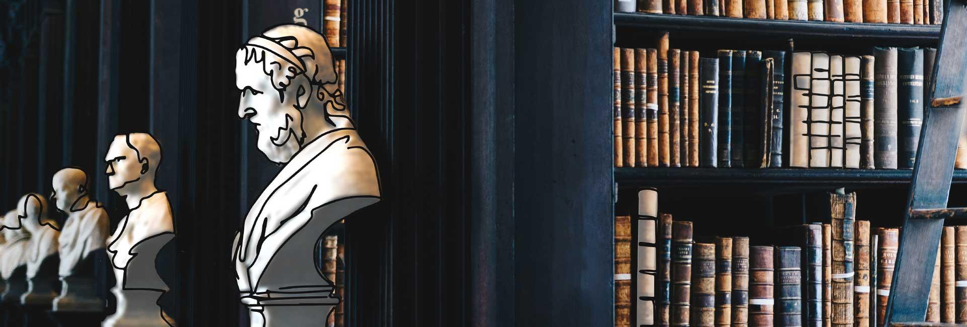 Immagine di una biblioteca adorna da busti di marmo