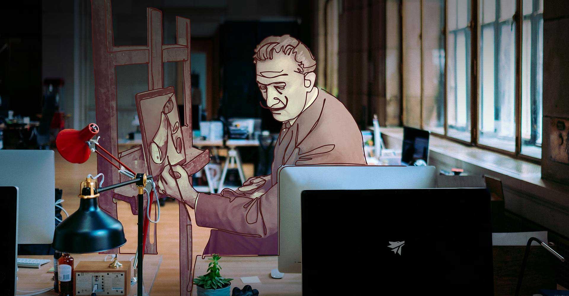 Immagine ritraente Salvador Dalì in un contesto contemporaneo